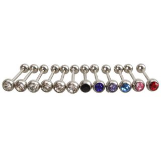 Ring Stud Body Jewelry Bars Barbell Multi Colored Rhinestone