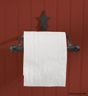 Barn Star Toilet Paper Holder Black Primitive Country Bathroom Decor