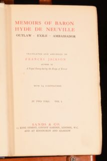 1914 2 Vol Memoirs of Baron Hyde de Neuville Frances Jackson Illus