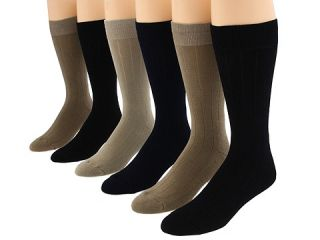 Ecco Socks Solid Color Rib Cushion Socks 6 Pack