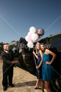 Sweet 16 Birthday Party Balloons and ride in Limo Royalty Free Stock