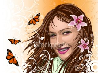 Beautiful girl with orchids Royalty Free Stock Vector Art Illustration