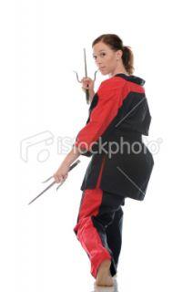 Arts martiaux, Armement, Femmes, Cadrage en pied, Autodéfense  Stock