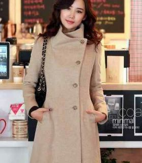 Korean version Womens Cashmere Woolen Warm Winter Long Coat Jacket