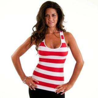 Black White Striped Tank Top Racer back Seamless Ribbed Stretch new