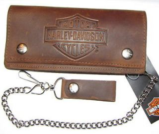 HARLEY DAVIDSON BAR & SHIELD DISTRESSED LEATHER CHAIN WALLET ** NR