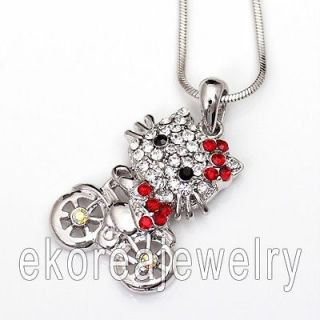 Made in KOREA   Austrian Crystal Cute Hello Kitty on Bike Necklace