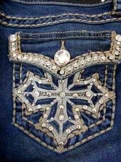 Size Jeans Rhinestone Crystal Cross Bold Stitching Stretch 15,17,19