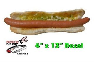 Foot Long Hot Dog 4x13 Decal Sign for Hot Dog Cart or Concession