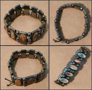 Beautiful Black Hematite Bracelet Christian Religious Item Bangle Cuff