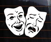 THEATRE MASK Vinyl Decal 5x4 comedy tragedy car wall sticker theater