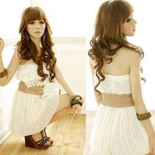New Fashion Womens Chiffon Casual Lace Flexible With Belt Summer Mini