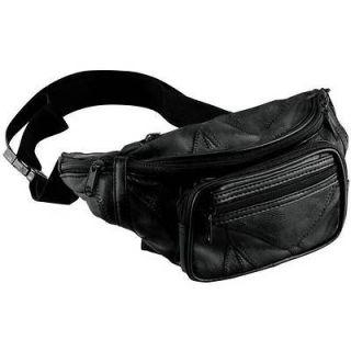 Large Black Solid Leather Fanny Pack Waist Bag Travel Belt Hip Purse