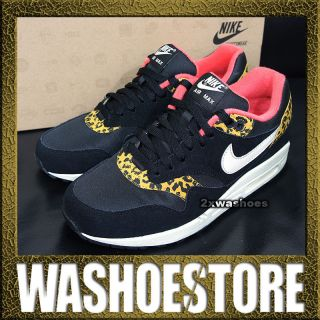 Nike Wmns Air Max 1 Black Gold Yellow Leopard Animal 319986 026 UK 2.5
