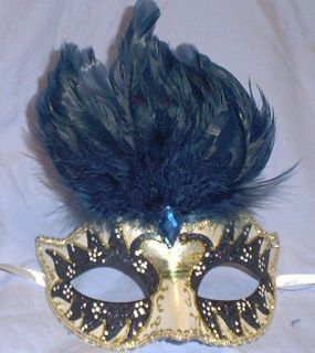 navy pearl small kid venetian masquerade feather mask time left