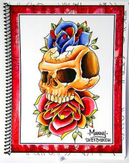 Professional Tattoo Sketchbook Drawings Tiki Rose Skull Outlines for