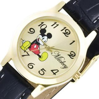 New DISNEY Mickey Mouse Ladies Kids Watch Black Leather Band GENTLY