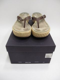 Prada Brown Leather Thong Straw Woven Platform Sandals 40