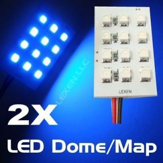 LED B2 BLUE 2X DOME MAP INTERIOR LIGHT BULBS 12 SMD PANEL XENON HID