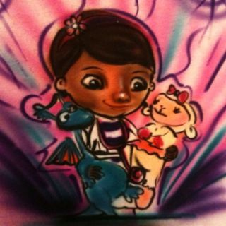 airbrushed doc mcstuffins new t shirt airbrush cool time left