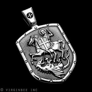 ST.GEORGE ON HORSE KILLS DRAGON SHIELD CROSS MEDAL STERLING 925 SILVER