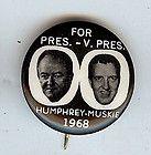 1968 HHH HUBERT HUMPHREY & EDMUND MUSKIE 7/8 JUGATE PICTURE CAMPAIGN