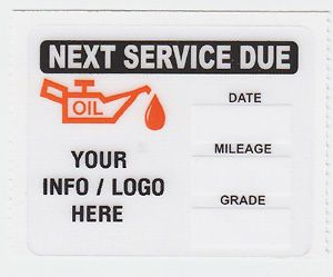 50 CUSTOM STATIC CLING OIL CHANGE STICKERS DECALS