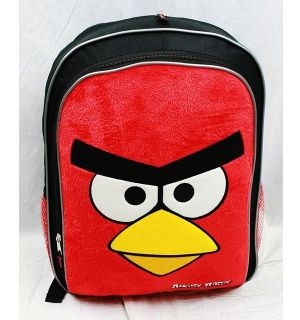 NWT Angry Birds Large Backpack Bag with Fuzzy Red Bird  Plush