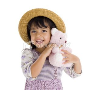 cute little girl with pink teddy bear  Stock Photo  iStock