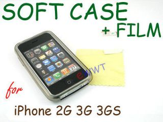 Black TPU Soft Gel Back Cover Case+Screen Protector for iPhone 2G 3G