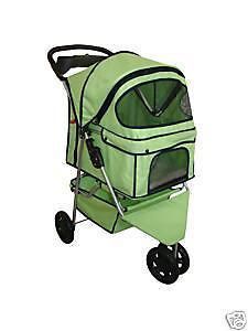 Classic Fashion Green Extra Wide 3 Wheel Pet Dog Cat Stroller w/Free