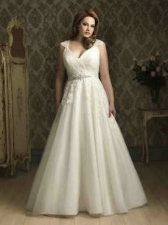 Plus Size White Ivory lace organza Empire line Wedding Bridal Dress