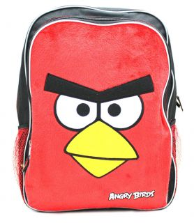 Rovio ANGRY BIRDS Red Bird Plush Face 16 inch Large Backpack School