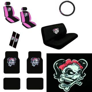 15pc Car Seat Cover Set Lady Skull Girl Pink Bow +Floor Mat+Wheel+Belt