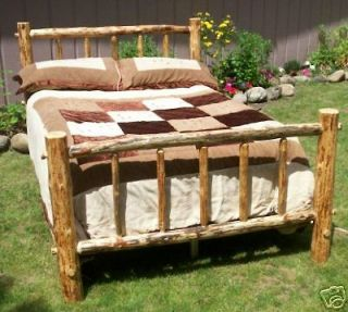 QUEEN Rustic Pine Log Bed Frame, lodge cabin western country bedroom