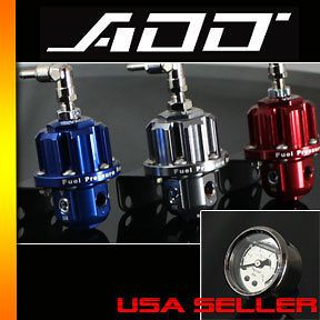 Fuel Pressure Regulator With oil Gauge red blue gunmetal 100 psi