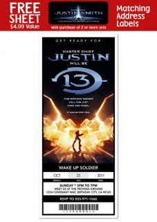 HALO 4 Birthday Party Personalized Ticket Style INVITATIONS