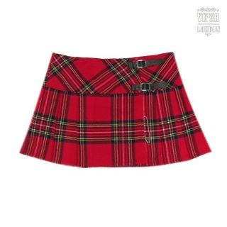Ladies Red Tartan 13 Inch Pleated Mini Skirt/ Micro Mini Kilt Sizes 6