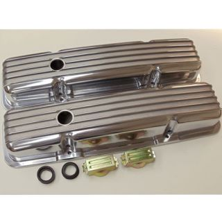 SBC SMALL BLOCK CHEVY FINNED SHORT POLISHED ALUMINUM VALVE COVERS w