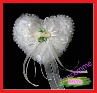 white wedding ring pillow cushion heart shaped from china time