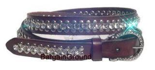 Women Rhinestone Crystal Bling Skinny Stud Studded Brown Leather Belt
