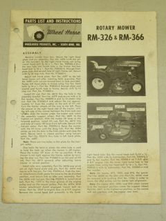 1965 WHEEL HORSE TRACTOR RM 326 RM 366 ROTARY MOWER PARTS LIST MANUAL