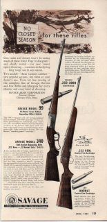 1954 vintage ad savage model 99 and model 340 rifles