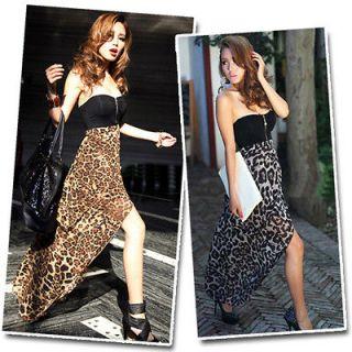 Bustier Leopard Party Maxi Long Cocktail Evening Skirt Dress #338