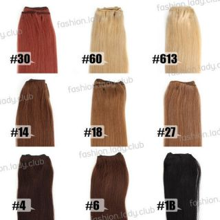 16 ~ 24 100g Straight 100% Human Hair Weaving Hair Weft Extensions 9