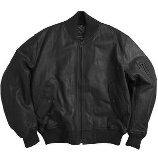 ALPHA INDUSTRIES MA 1 LEATHER FLIGHT JACKET BLACK S,M,L,XL,2XL,3XL,4XL