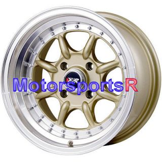15 15x8 XXR 002 Gold Wheels Rims Deep Dish Step Lip 4x100 Stance Honda