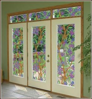 Biscayne Clear See Thru Stained Glass Design Window Film   Many Sizes