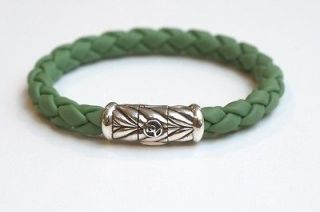 New DAVID YURMAN Mens 8 Silver Green Rubber Chevron Bracelet $325