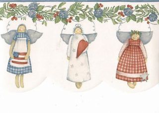Sale$9.95 Country Angel Dolls Blue White 30 feet Wallpaper